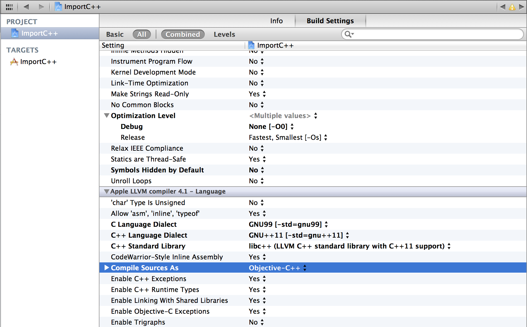 Xcode Build setting